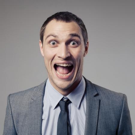 happy old man: Happy Businessman Screaming