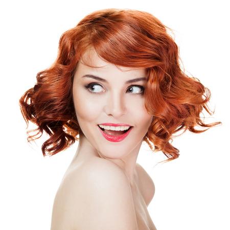 Bella donna sorridente ritratto isolato su bianco Archivio Fotografico - 24878077