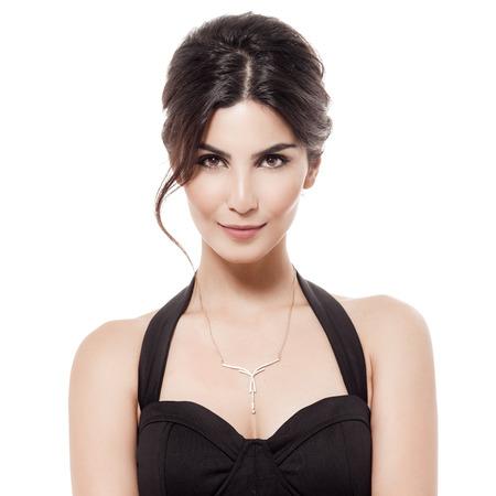 Fashion Portret Van Luxe vrouw met juwelen. Geïsoleerd Op Witte Achtergrond Stockfoto