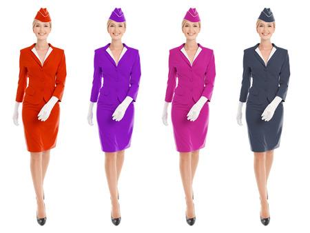 air hostess: Hôtesse de Charme en uniforme variantes de couleur. Isolé sur fond blanc. Banque d'images