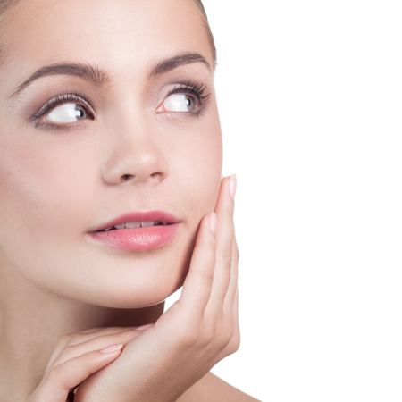 touching face: Spa Woman. Beautiful Girl After Bath Touching Her Face. Perfect Skin. Skincare. Young Skin