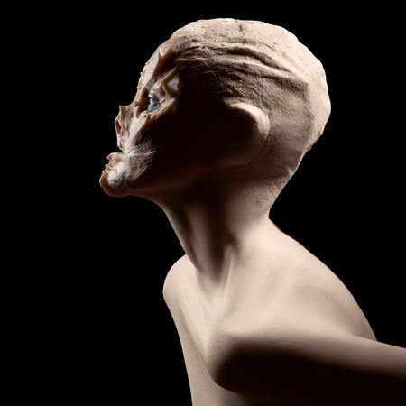 alien women: Mad ugly monster. Halloween.