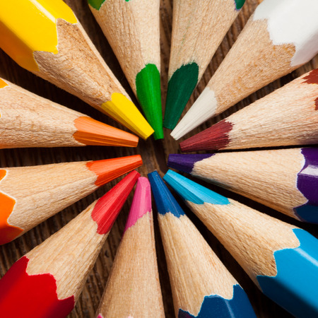 Many different colored pencils. Close-up macro. photo