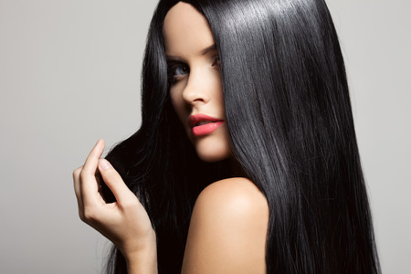 black hair: Hair. Beautiful Brunette Girl. Healthy Long Hair. Beauty Model Woman. Hairstyle