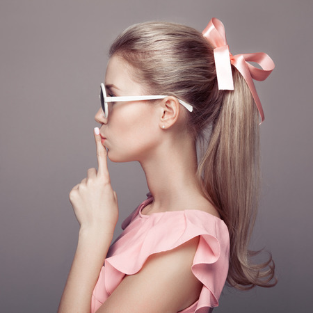 vintage woman: Beautiful blonde woman. Fashion portrait. Stock Photo