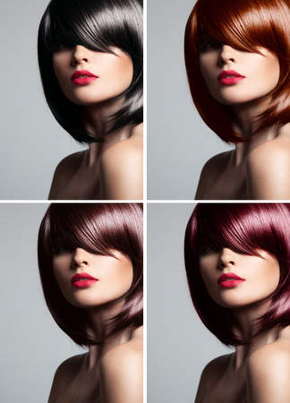 Collage of a beautiful young woman , with natural straight glossy hair , mixed color , concept hairstyle photo
