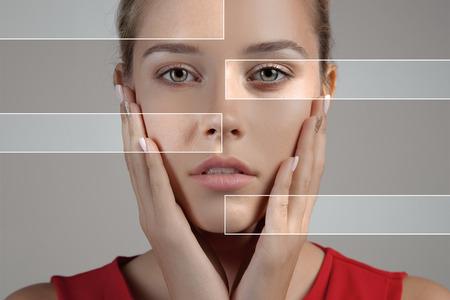 むらとで肌を深い毛穴にきびと治癒の柔らかい肌を持つ女性 写真素材