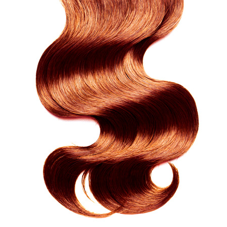 flaxen: Curly red hair over white