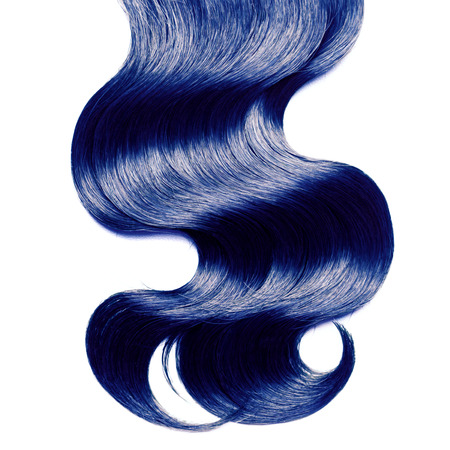 white colour: Curly blue hair over white Stock Photo