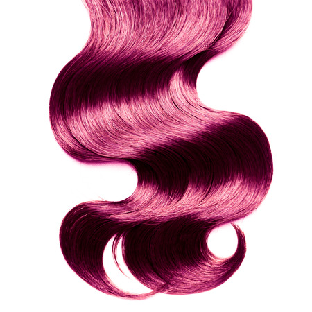 white colour: Curly violet hair over white Stock Photo
