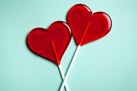 Two lollipops. Red hearts. Candy. Love concept. Valentine day. Reklamní fotografie - 42489691