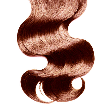 shiny: Curly brown hair over white Stock Photo