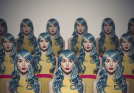 clone: Many Glamour Beauty Woman Clones. Identical Crowd Concept. On Gray Background.