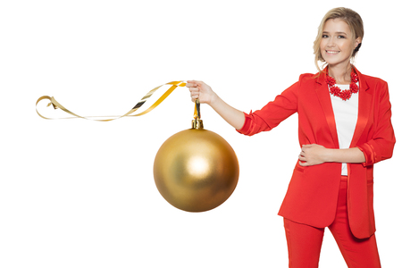 Charming Woman Holding Big Golden Tree Ball. Happy New Year. Marry Christmas. Isolated.