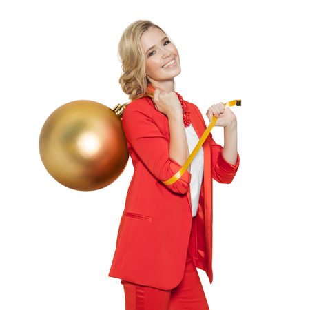 marry christmas: Charming Woman Holding Big Golden Tree Ball. Happy New Year. Marry Christmas. Isolated.