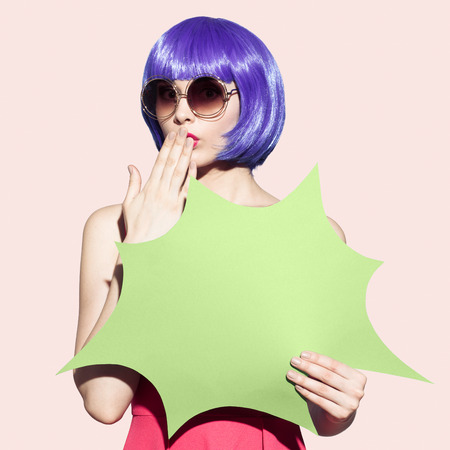 Pop Art Woman Portrait Wearing Purple Wig And Sunglasses. Space For Text.