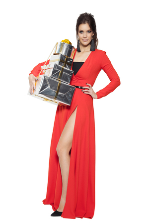 marry christmas: Charming Woman Holding Many Gifts. Happy New Year. Marry Christmas. Isolated On White.