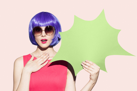 gaga: Pop Art Woman Portrait Wearing Purple Wig And Sunglasses. Space For Text.