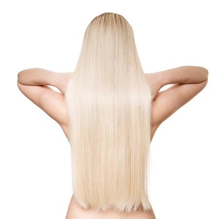 Portrait Of A Beautiful Young Blond Woman With Long Straight Hair. Back View. Isolated