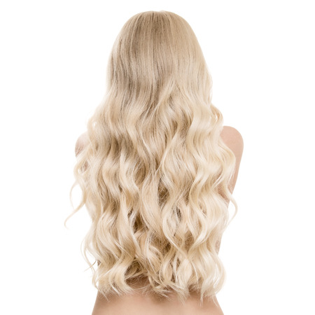 hair back: Portrait Of A Beautiful Young Blond Woman With Long Wavy Hair. Back View. Isolated