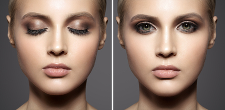 puros: Close up portrait of beautiful woman face. Make up smoky eyes.
