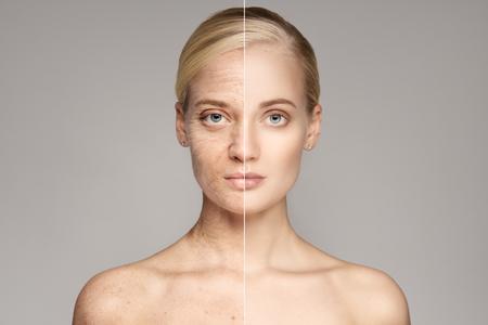 완벽 한 피부를 가진 아름 다운 젊은 금발 여자의 초상화입니다. 스톡 콘텐츠