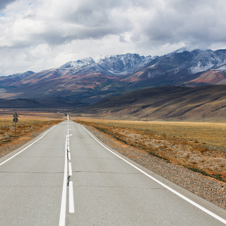 Landscape with the outgoing road against the backdrop of the Altai Mountains