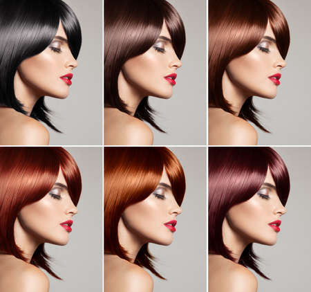 Collage of a beautiful young woman , with natural straight hair , mixed color , concept hairstyle