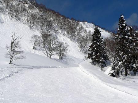 froze:  winter mountain ski area in japanese mountains Stock Photo
