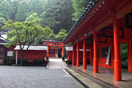inner yard of japanese  temple in mountain area