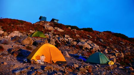 camping site: camping site on the mountain ridge Stock Photo