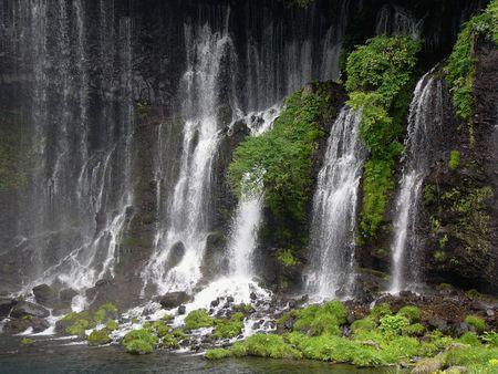 powerful japanese waterfall Shiraito in springtime Stock Photo