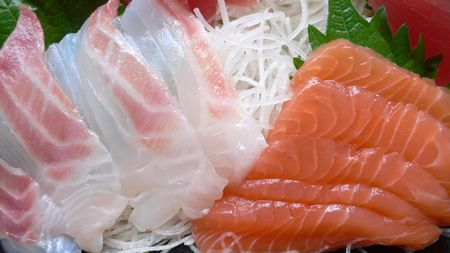 served japanese raw fish (sashimi)