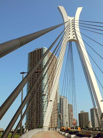 modern city view over suspension bridge support, Tokyo