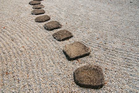 stone way in japanese stone garden, Tokyo Japan