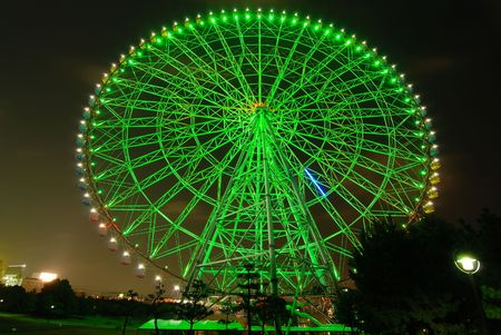 Giant ferris wheel at night, Tokyo Japan