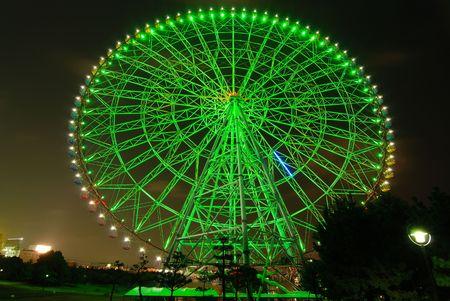 Giant ferris wheel at night, Tokyo Japan