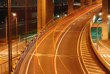 night highway background with car color traces Stock Photo - 2395349