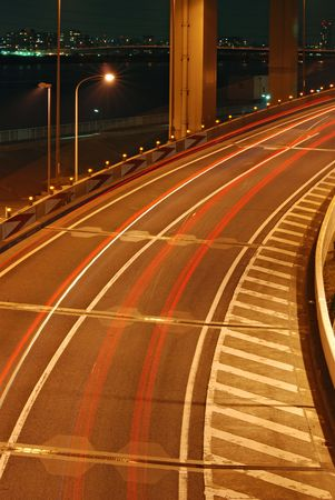 night highway background with car's color traces Stock Photo - 2615064