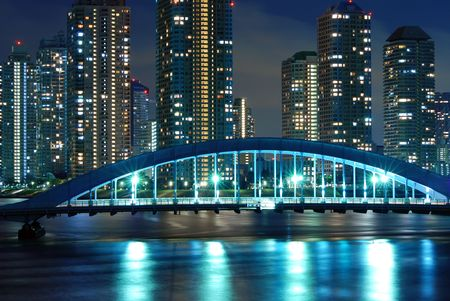 scenic Eitai bridge over Sumida river at night time, Tokyo Japan