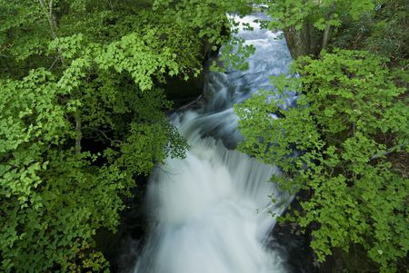 white water stream under green summer branches, taken on natural cascade of Ryuzu Waterfall, Nikko, Japan