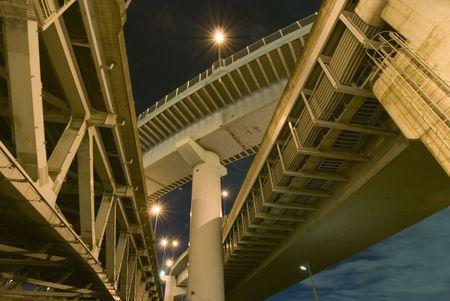 high density highways structure background over night sky, Tokyo, Japan