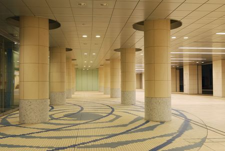 pedestrian walkway: modern architectural background, it is pedestrian walkway space in Tokyo underground area empty at late time Stock Photo