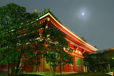 japanese temple: colorful Japanese temple at moonlight, Asakusa Tokyo Japan