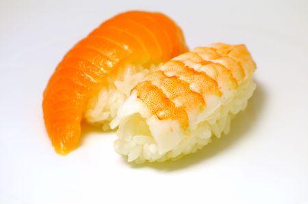 close up traditional fresh japanese sushi on white background Stock Photo - 3447642