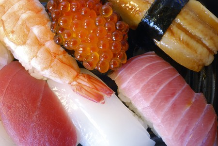 mixed traditional Japanese sushi set, close up shot Stock Photo - 4550702