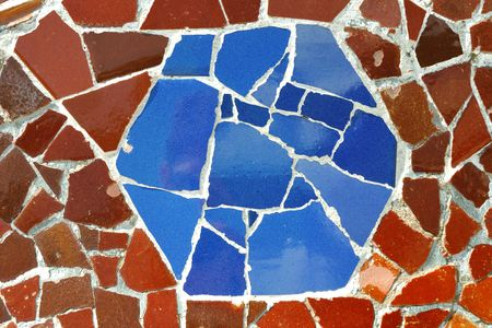 detailed mosaic ornament fragment from Park Guell, Barcelona, creation of Antonio Gaudi Stockfoto