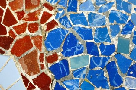 detailed multicolored mosaic ornament fragment from Park Guell, Barcelona, creation of Antonio Gaudi photo