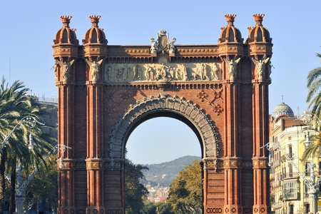 famous Arc de Triomf built for the 1888 Universal exhibition in Barcelona, Spain Stockfoto