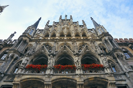 rathaus: detailed  medieval wall of  New Town Hall (Neues Rathaus) in Munich, Germany Stock Photo